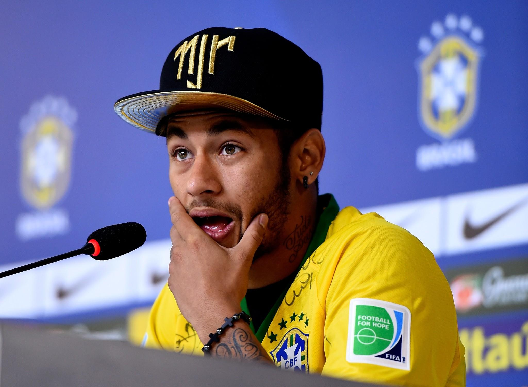 Neymar at a press conference on in Teresopolis, Brazil.