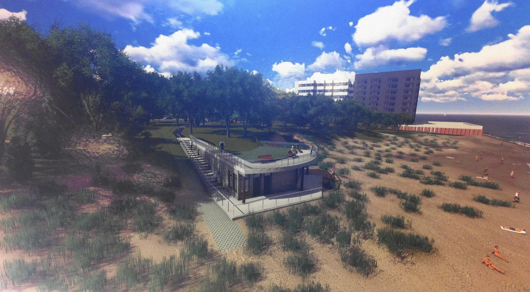 Artist's rendering of Wilmette's proposed Lakefront Master Plan.