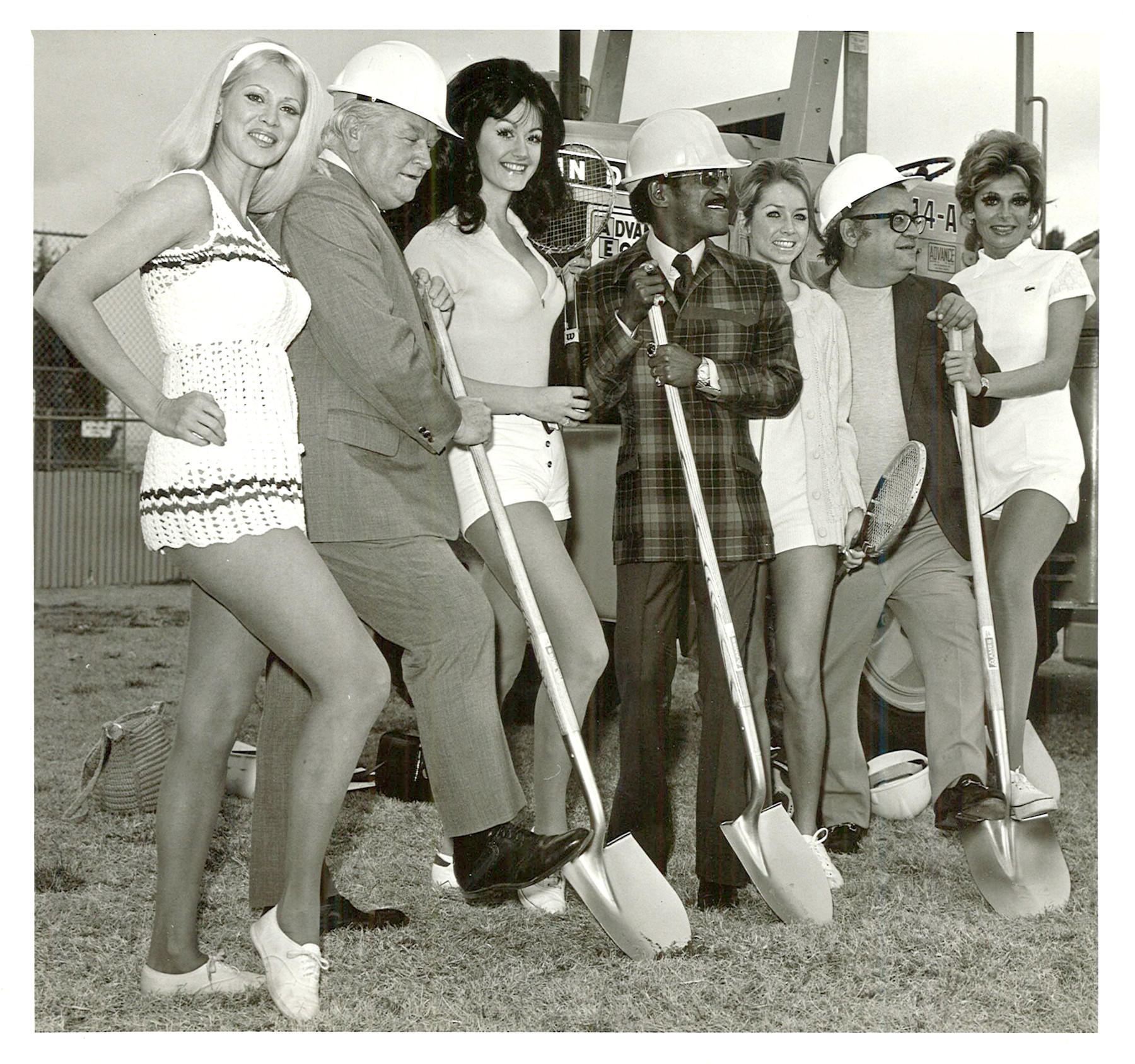 "Suzanne Kraus's mom ""Olivia'', shown here far right, was a Vegas showgirl who met author Mario Puzo, second from far right, and Sammy Davis Jr., center."