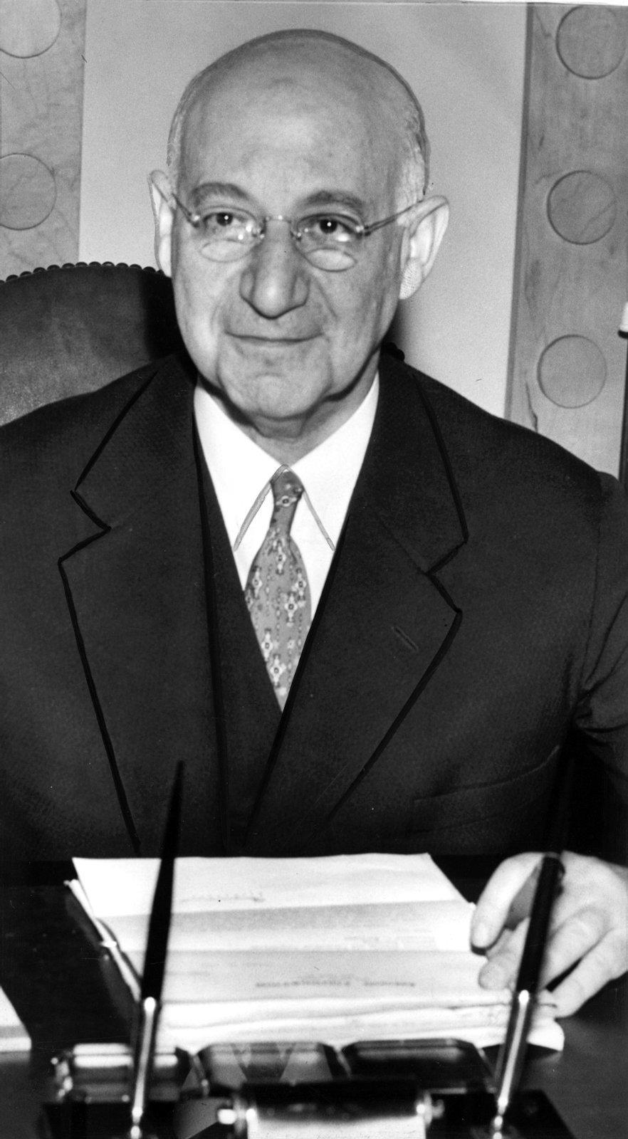 1957 photo--Jacob Blaustein, founder of Amoco. (file photo.)