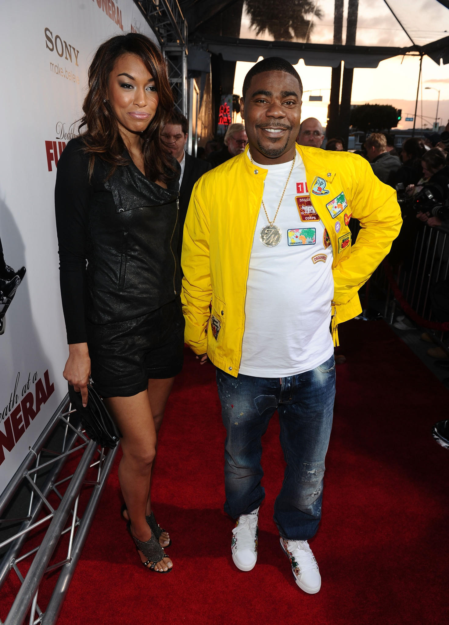 """Actor Tracy Morgan (R) and guest arrive at Sony Pictures Releasing's """"Death At A Funeral"""" premiere held at Arclight Cinema on April 12, 2010 in Los Angeles, California."""