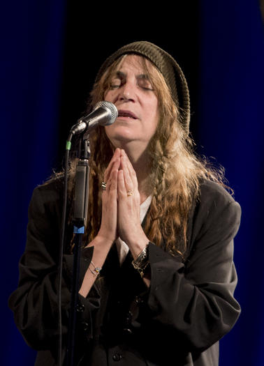 Patti Smith performs during the 37th edition of Le Printemps de Bourges rock and pop music festival in the French city of Bourges on April 24, 2013.