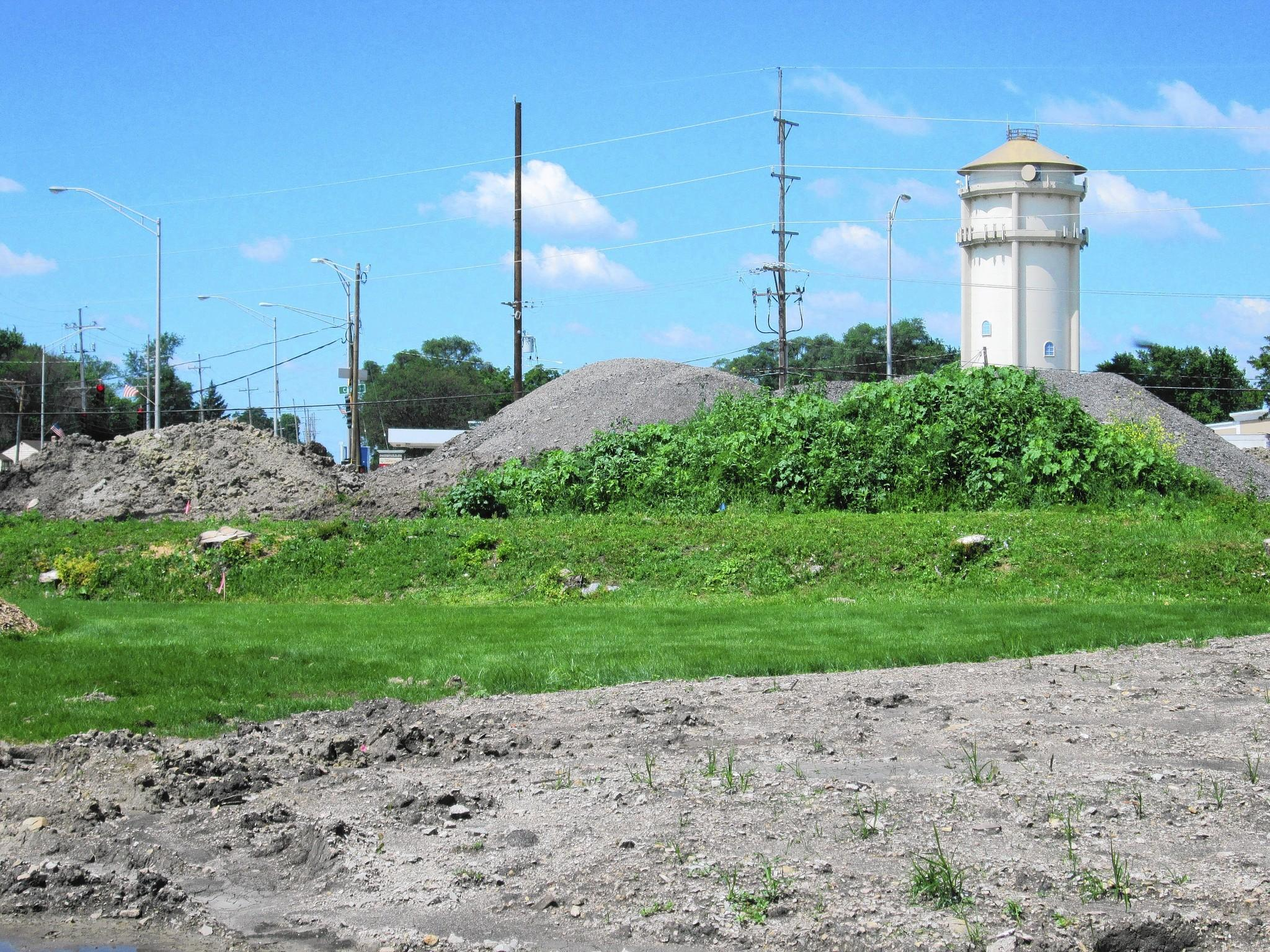 Dirt and gravel are currently mounded on the grounds of a proposed park near Cass Avenue and Plainfield Road in Darien.