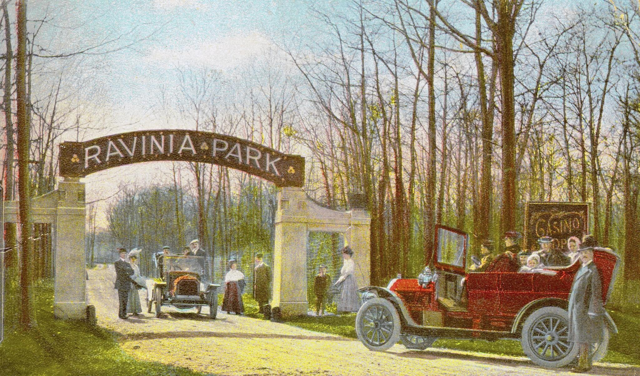 Entrance to Ravinia Park post card, circa 1908. Published by The Rotograph Co. in Germany.
