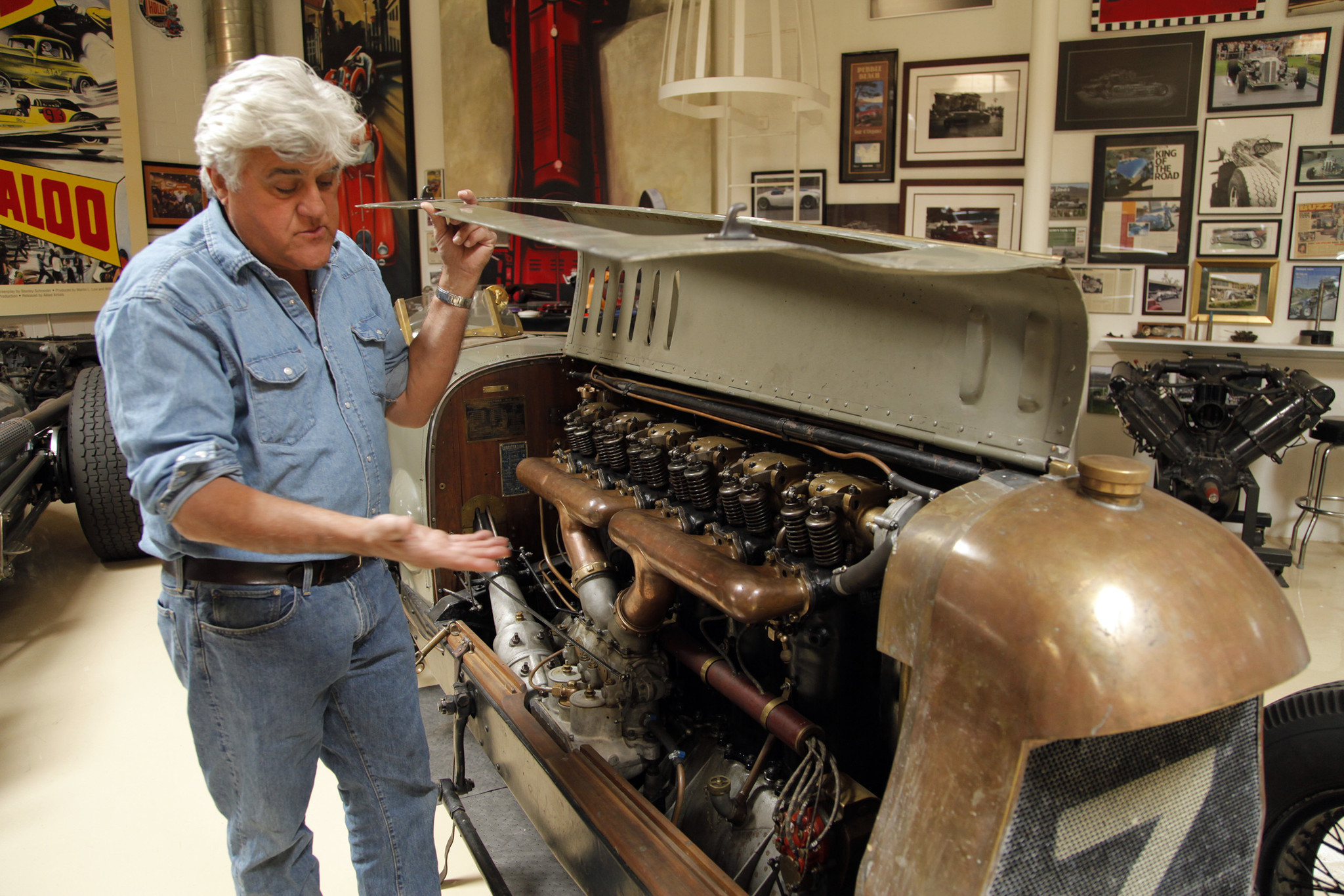 Jay Leno opens doors to eclectic 130-car garage
