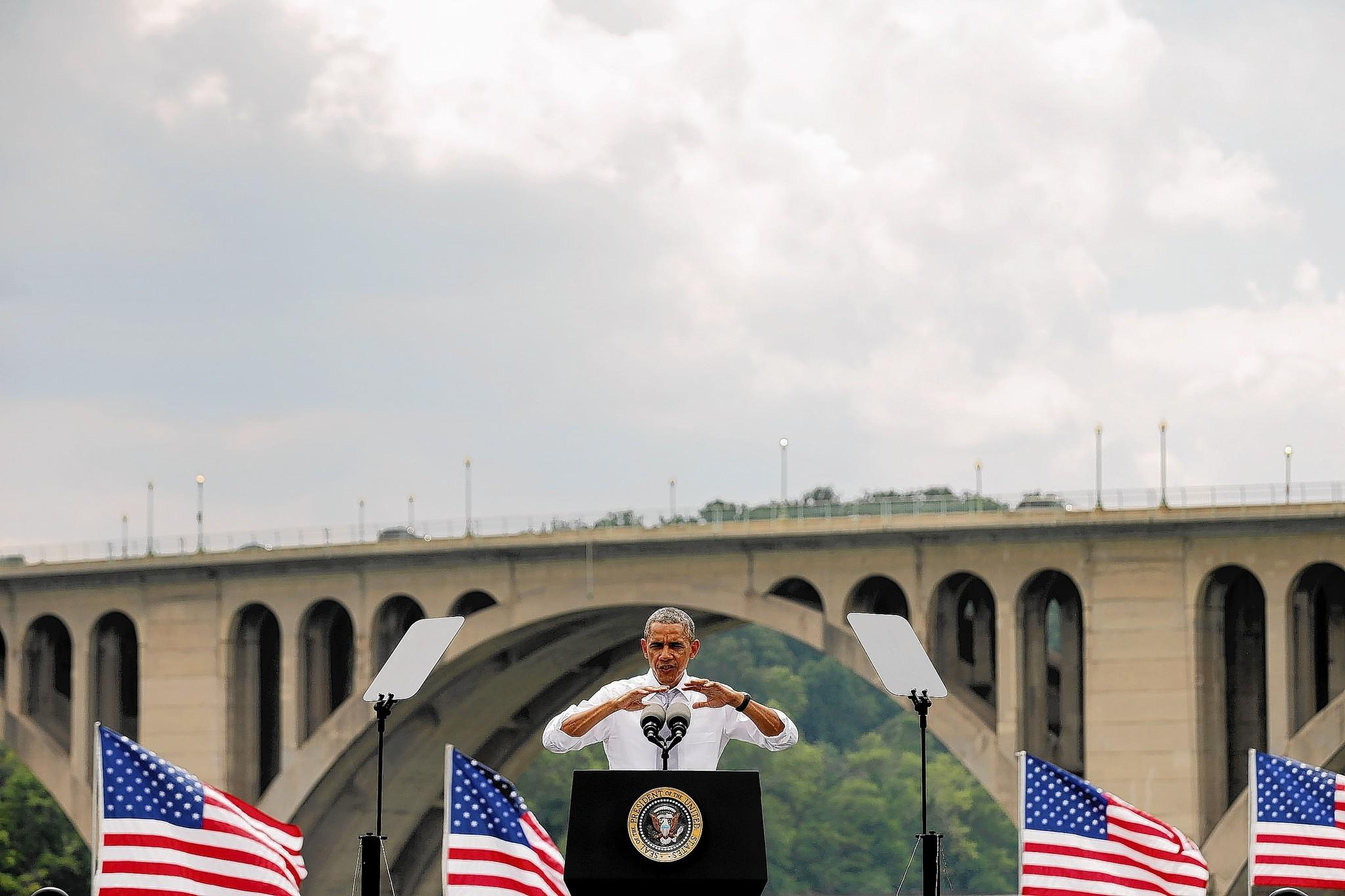 President Barack Obama delivers remarks July 1 in front of the Key Bridge along the Georgetown Waterfront Park in Washington, D.C. Obama called on Congress to close tax loopholes and use the money to pay for infrastructure projects. The Key Bridge will be repaired using the Highway Trust Fund, which will expire at the end of the summer if Congress does not find a new way to pay for it.