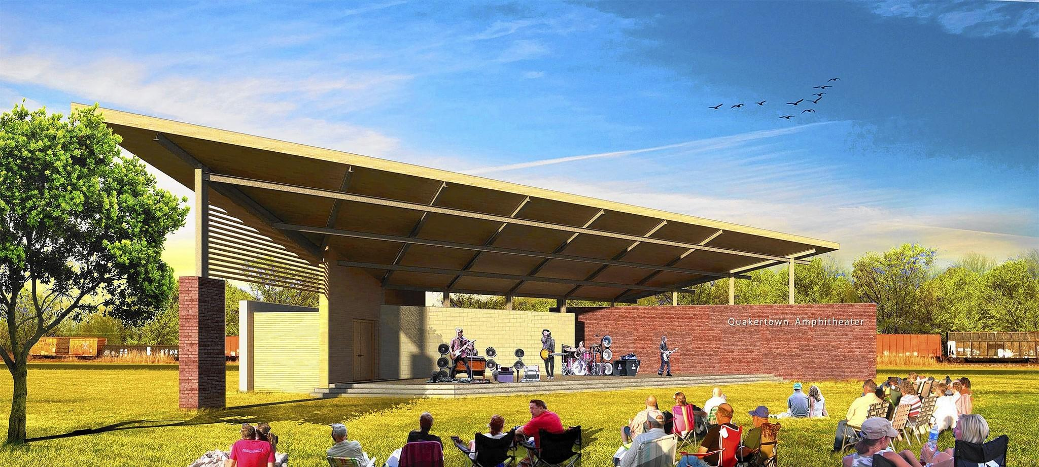 Quakertown is turning the site of the former Krupp Foundry into a park. Plans include building an amphitheater, shown here in a rendering.