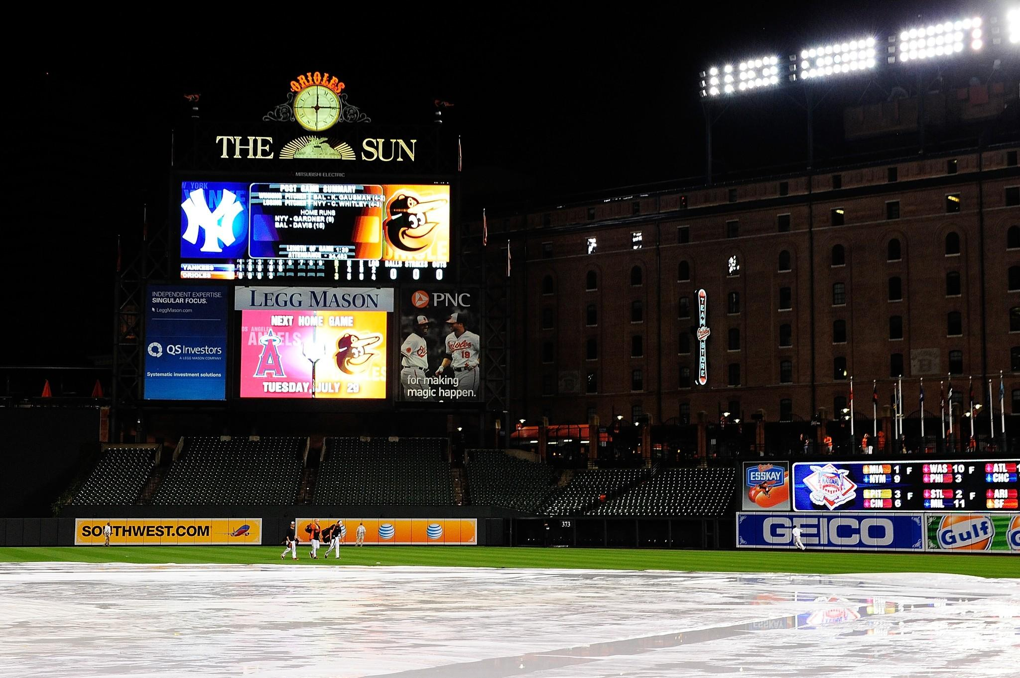 BALTIMORE, MD - JULY 14: Members of the Baltimore Orioles walk back to the dugout after a game against the New York Yankees was called due to rain at Oriole Park at Camden Yards on July 14, 2014 in Baltimore, Maryland. The Orioles defeated the Yankees 3-1.