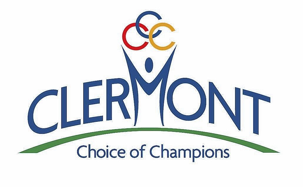 "Clermont's new logo and slogan: ""Clermont -- Choice of Champions."""
