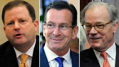 From left, gubernatorial candidates John McKinney, Dannel Malloy and Tom Foley have released their first campaign TV ads.