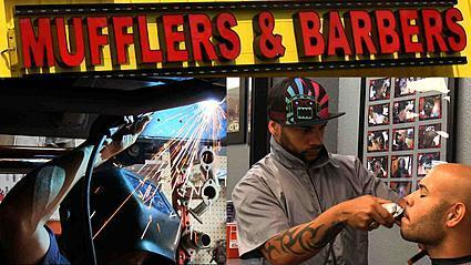 Orlando muffler shop doubles as barbershop