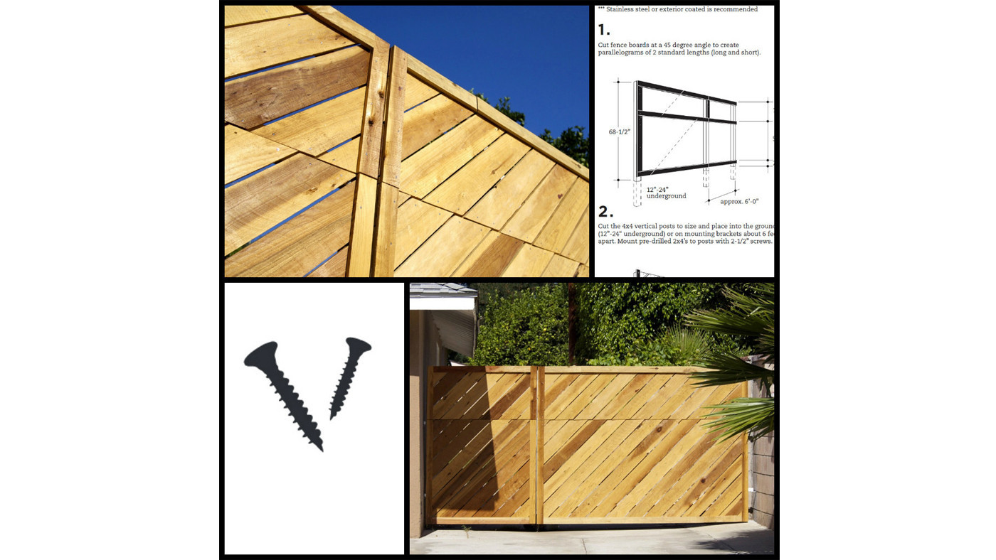 Scout Regalia's plans for a diagonal-board fence, including step-by-step instructions and helpful diagrams, are available as a free download on the studio's website.