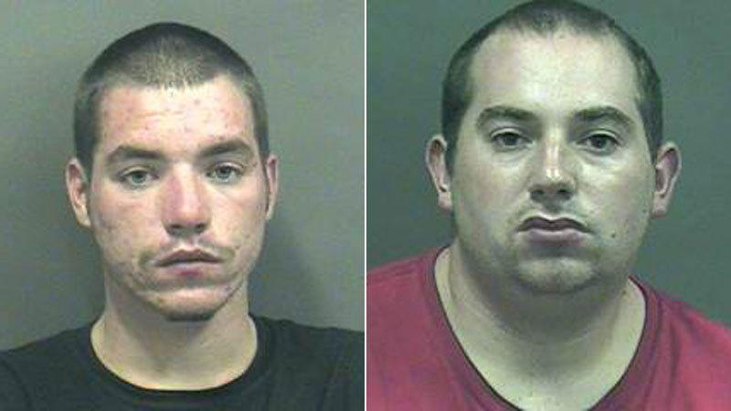 Travis Breda and Stephen Verity were arrested after allegedly trying to steal a Ford Mustang by driving away during a test drive and then forging a bill of sale.