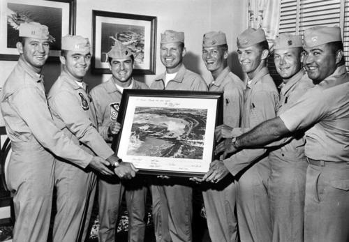 Blue Angels signed this color photo to present to Caroline Kennedy. From left are Lt. Smokey Tolbert, Lt. John Allen, Capt. Vince Donile (USMC), Cmdr. Bill Wheat, Lt. Rick Millson, Lt. Hal Loney, Lt. Rick Adams, Lt. Fred Wilson.September 7, 1968