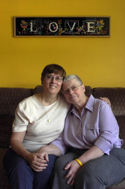 Charlotte Stacey (left) and partner Margaret Mueller have been together through Mueller's misdiagnosis of cancer, and following lawsuit. The couple was joined in a civil union in November, 2005.