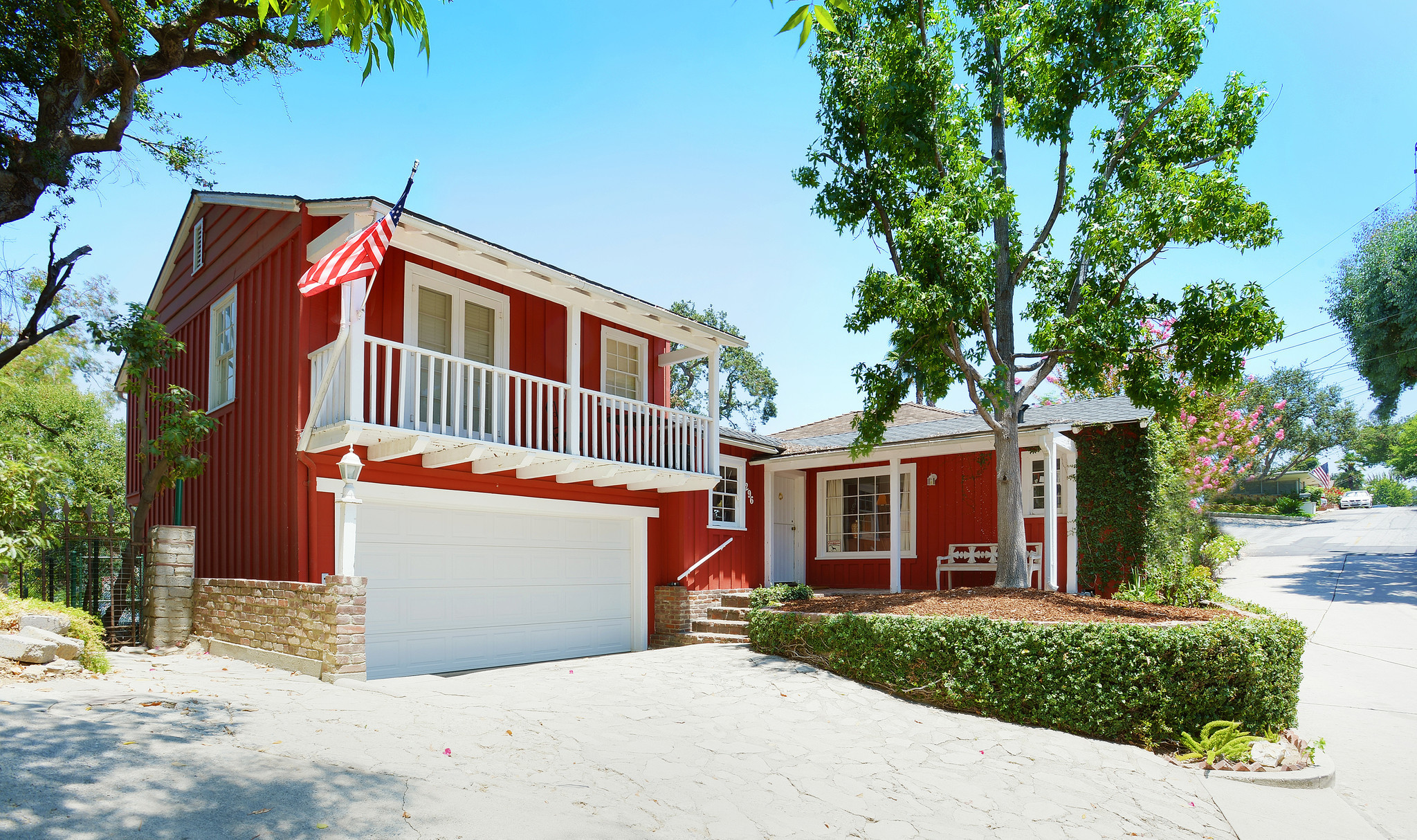 Home of the day red cottage on a hill in south pasadena for Red cottage