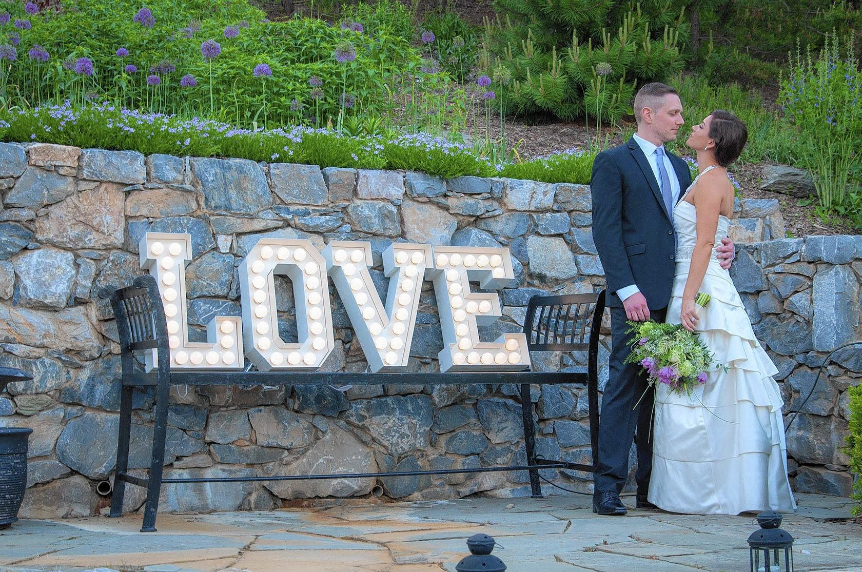 "These ""Love"" marquee letters were lent by Lisa's friend Katie DeStefano, owner of Curiosity in Harbor East."