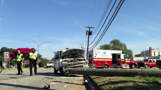 Video: Van hits utility pole in Newport News