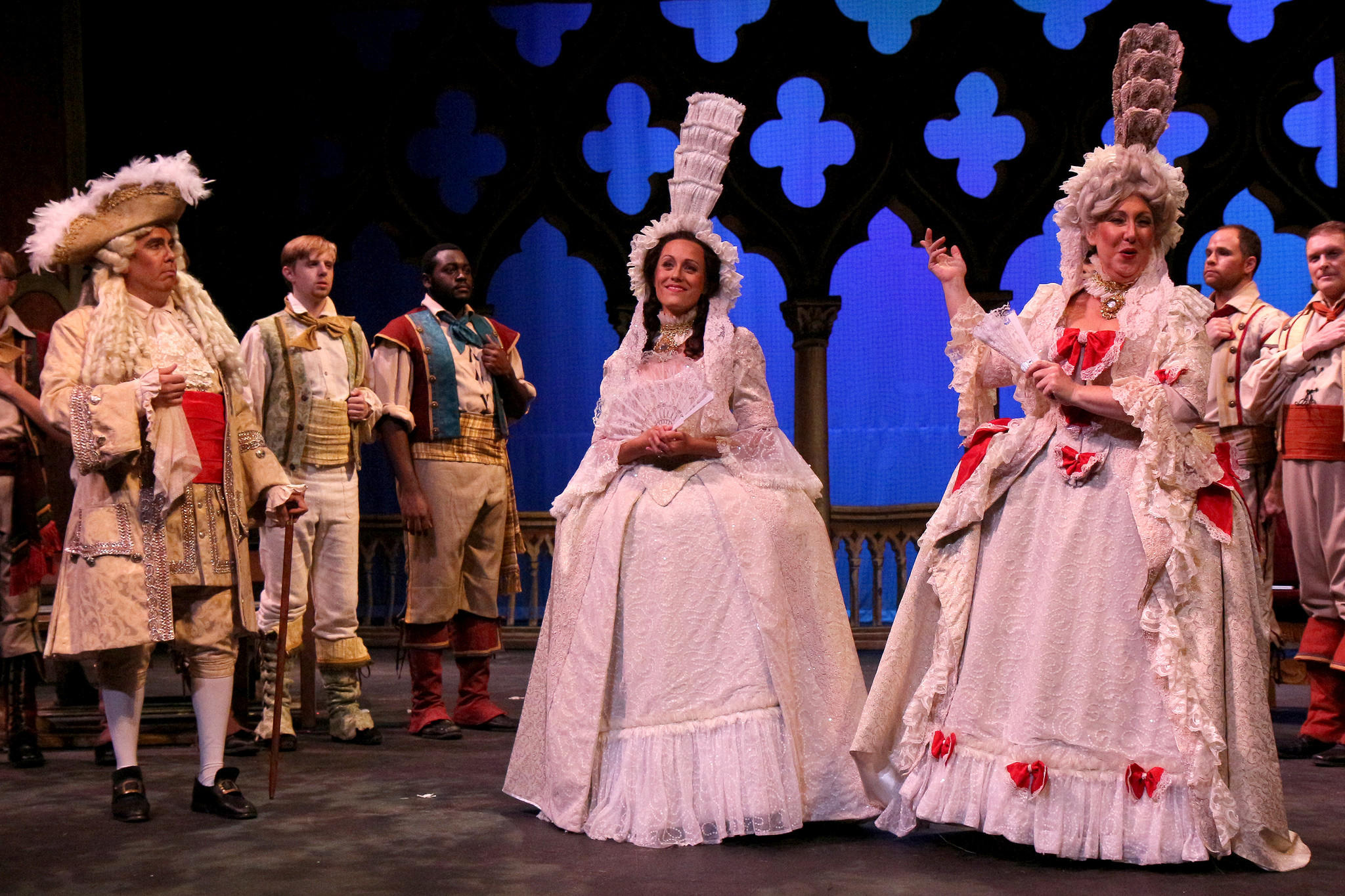 "From left: Andrew Adelsberger, Melissa Mino and Jennifer Blades in Young Victorian Theatre Company's production of ""The Gondoliers"""