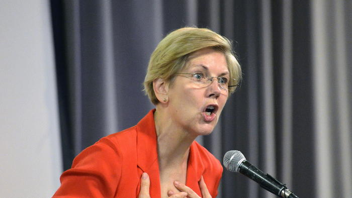 Democratic U.S. Sen. Elizabeth Warren of Massachusetts speaks to a group of supporters at a rally in June for Kentucky Democratic candidate Alison Lundergan Grimes.