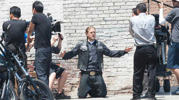 "Charlie Hunnam  filming ""Sons of Anarchy"" in Los Angeles."