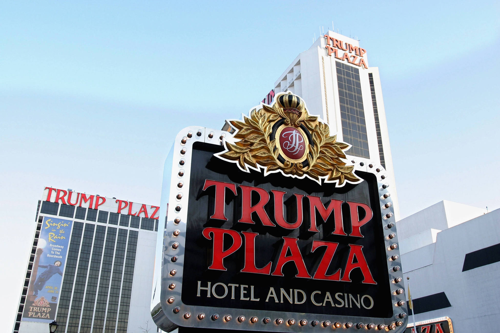 A sign marks the Trump Plaza Hotel and Casino May 8, 2004 in Atlantic City, N.J.