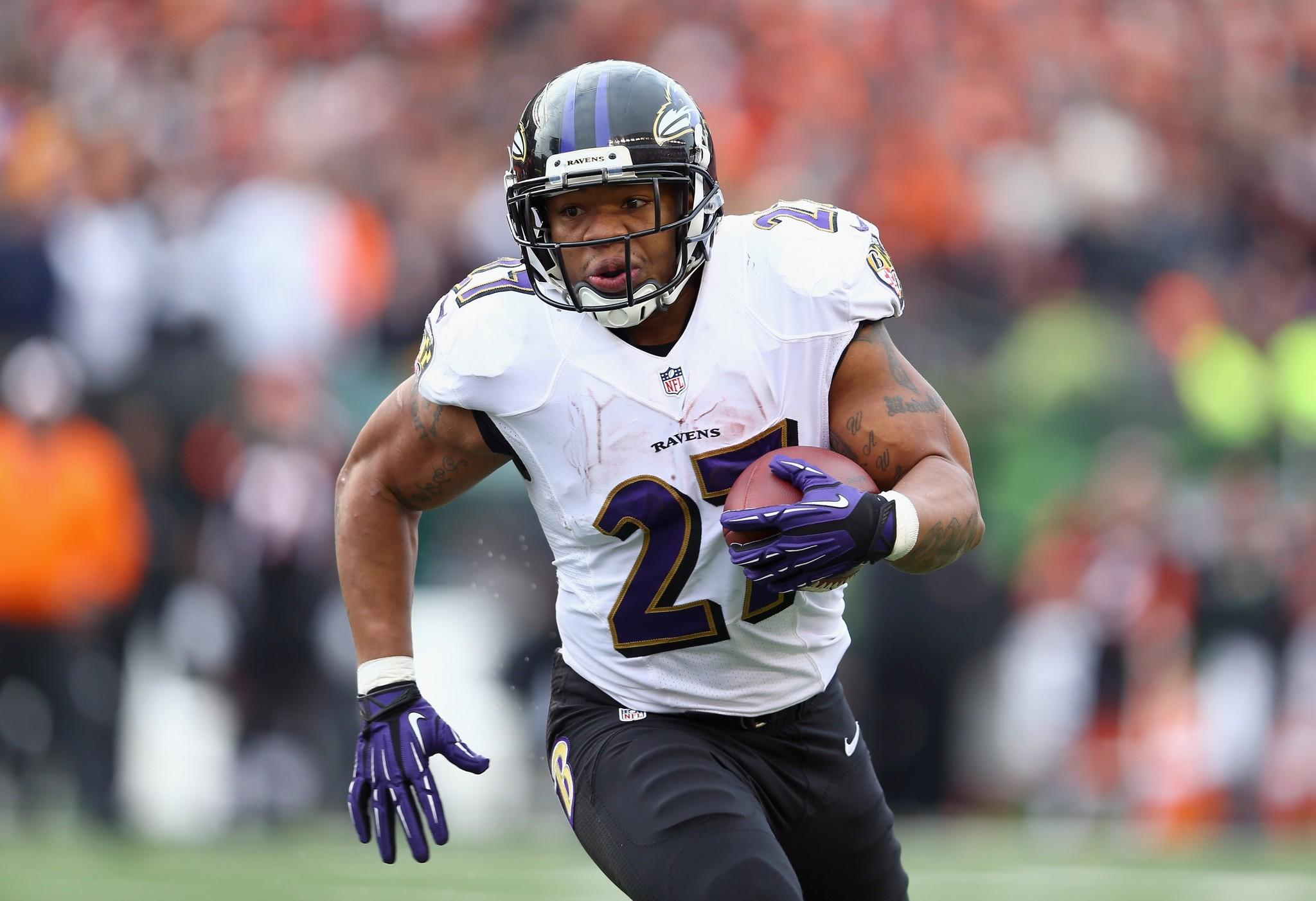 Ravens running back Ray Rice carries the ball against the Cincinnati Bengals in December.