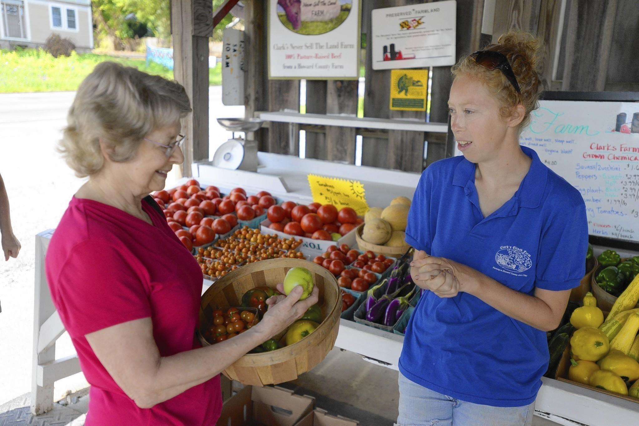 Small family farmer Nora Crist (right) talks with customer Barbara Wolfert of Columbia about her produce selection at Clark's Farm in Ellicott City. The Howard County Film Feastival is being held for the 5th year at Clarks Elioak Farm on Tuesday, July 22.