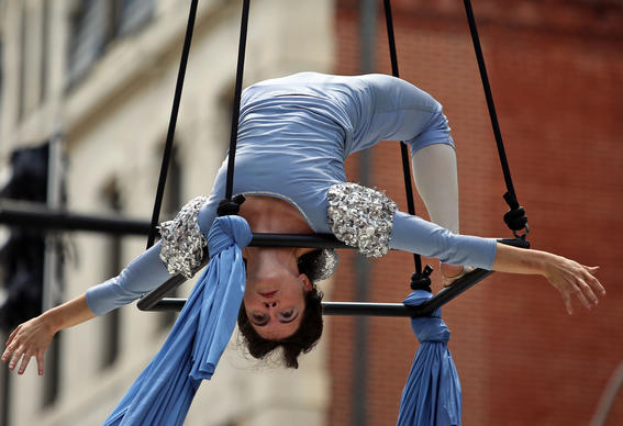 Jessie Delaplaine, a dancer from Daydreams   Nightmares Aerial Theatre, performs at the Aerial Arts Arena on Charles Street.
