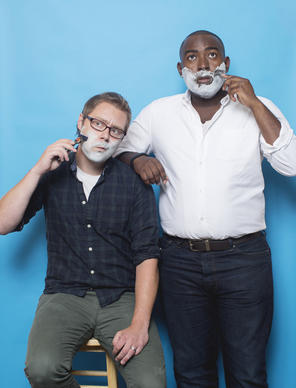 Reporters Mick Swasko (with the Gillette Fusion ProGlide) and Ernest Wilkins (with a razor from Bevel)