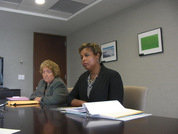 Broward School Board member Ann Murray (left) Felicia Brunson appeared at the Sun Sentinel editorial board on Monday, July 21, 2014, where they discussed Murray's use of the n-word. Photo by Anthony Man/Sun Sentinel.