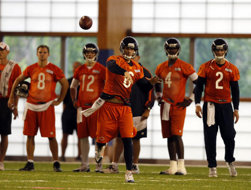 Jay Cutler throws in front of quarterbacks Jimmy Clausen, David Fales, Jerrod Johnson and Jordan Palmer during minicamp at Halas Hall.
