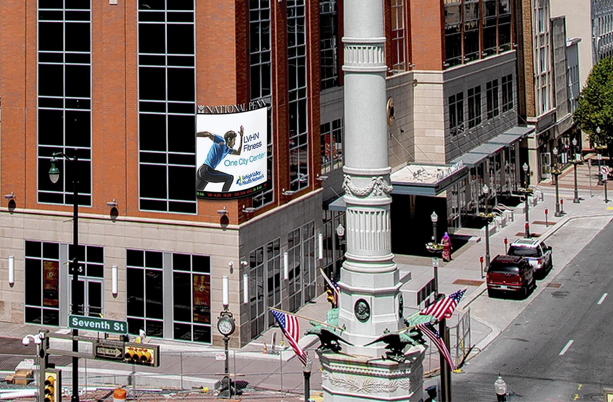City Center Investment Corp. has proposed a 172-square-foot digital sign at the corner of Seventh and Hamilton streets outside Two City Center.