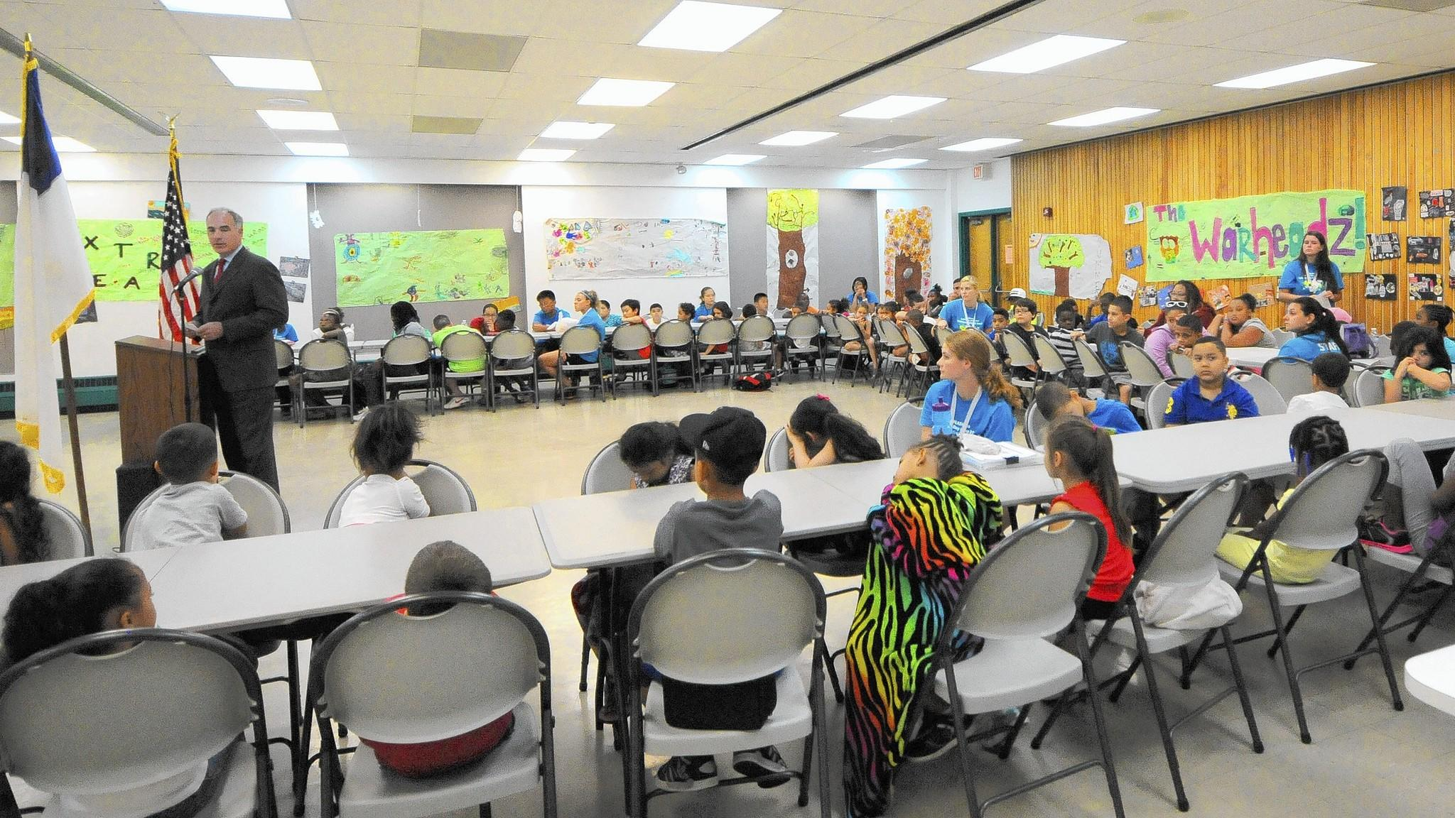 During a visit to the Allentown YMCA and YWCA on Monday, Sen. Bob Casey said that 'if children don't get enough to eat, they're not going to learn at the rate they need to learn.'