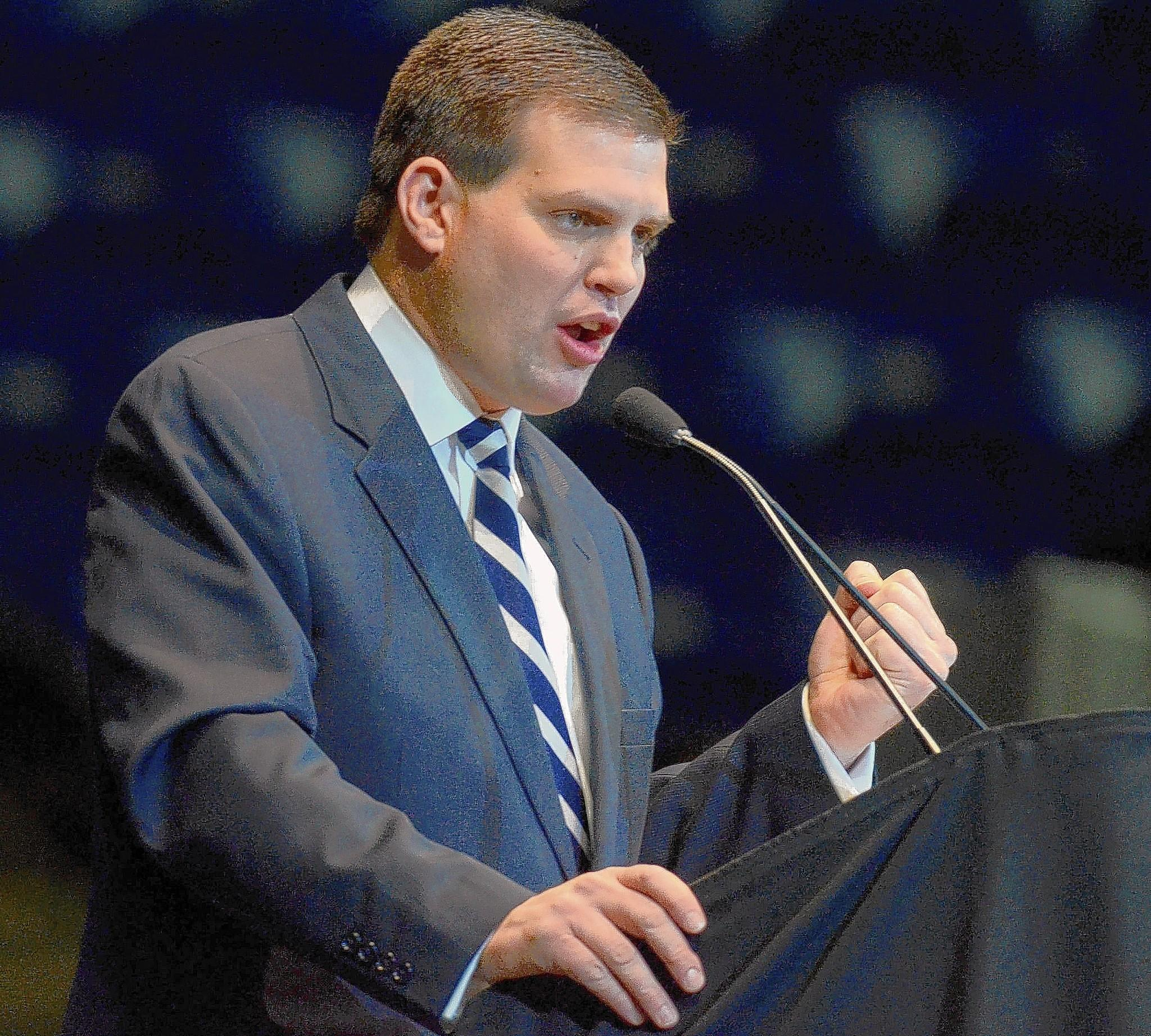 Jay Paterno, shown during the memorial service for his father Joe Paterno in 2012, is suing Penn State along with former coach Bill Kenney for more than $1 million in damages.