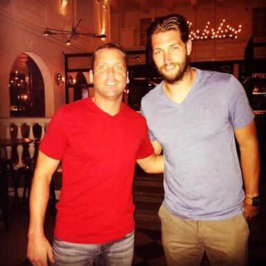 The Bears' Jay Cutler (right) at Berkshire Room in the Acme Hotel July 18, 2014 with Berkshire employee Eddie Mahoney (left).