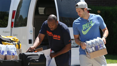 Bears players arrive for training camp