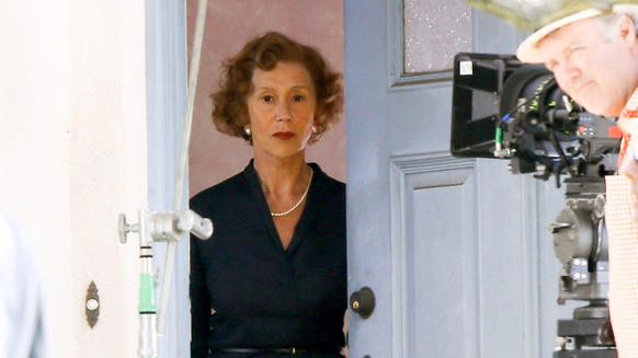 Helen Mirren  filming 'The Woman in Gold' in Los Angeles.