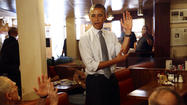 President Obama in L.A.: Fundraiser, fist bumps, trash talk in a deli