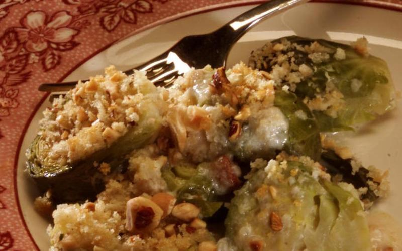 Creamed Brussels Sprouts With Hazelnut Crumbs