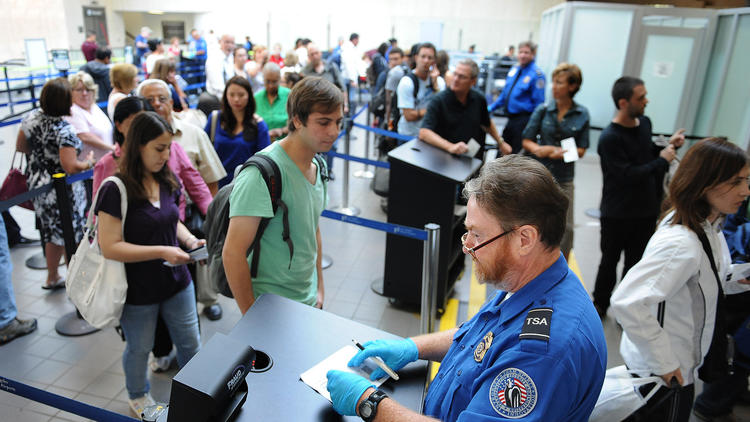 TSA screening at LAX