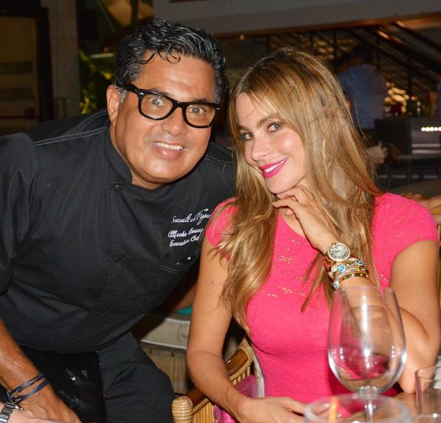 Actress Sofia Vergara and Joe Manganiello dined at Seasalt and Pepper Restaurant on the Miami River Friday night.