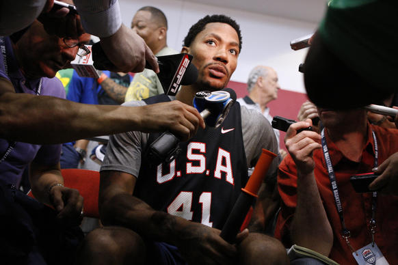 Derrick Rose is interviewed at the end of an USA Basketball training camp practice at Mendenhall Center in Las Vegas.