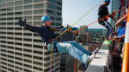 'Don't Look Down': Fundraisers Rappel Down Hilton Hartford As Crowds Look On
