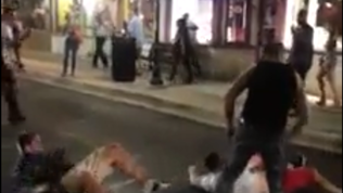 Warning Graphic language: Police use stun gun to break up fight