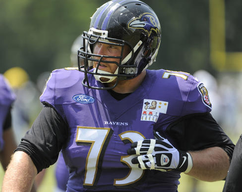 Ravens guard Marshal Yanda participates in a training camp practice at the Under Armour Performance Center.