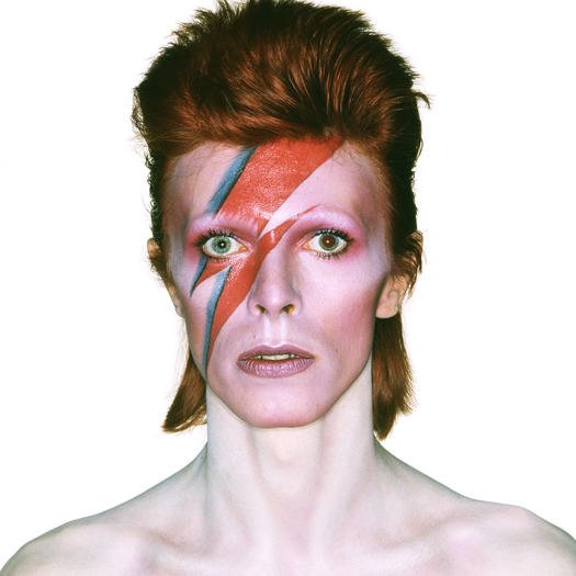 "Album cover shoot for David Bowie's ""Aladdin Sane,"" 1973."