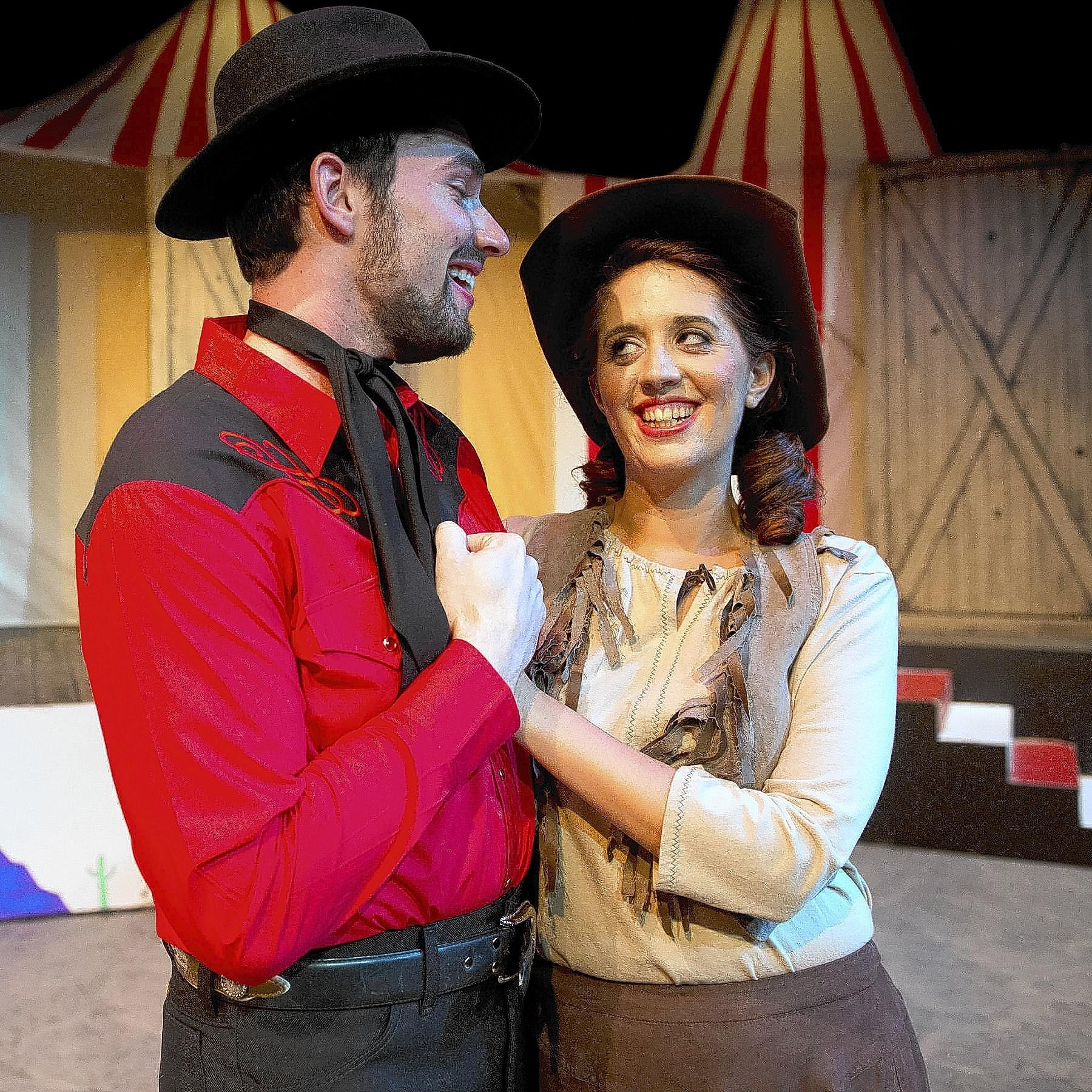 Rebecca Pieper-Bohun plays Annie Oakley and Jason Zimmer is Frank Butler in the Pennsylvania Playhouse production of 'Annie Get Your Gun.'