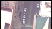 Aerial view of shooting scene in Chicago Loop