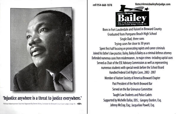 The front and the back of one version of the campaign literature that Judge candidate Dennis Bailey has been passing out.